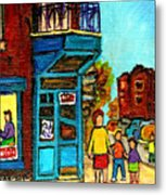 Wilensky's Counter With School Bus Montreal Street Scene Metal Print