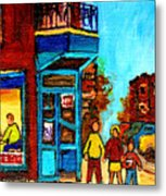 Wilensky's Lunch Counter With School Bus Montreal Street Scene Metal Print
