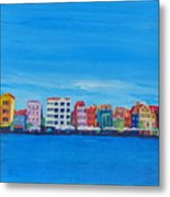 Willemstad Curacao Waterfront In Blue Metal Print
