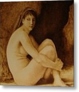 William Bouguereau Seated Nude  Metal Print