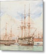 William Edward Atkins H.m.s. Victory And H.m.s. Duke Of Wellington In Portsmouth Harbour With An Ind Metal Print
