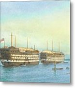 William Frederick Mitchell , H.m.s. Excellent And H.m.s. Calcutta In Portsmouth Harbour, 1897 Metal Print