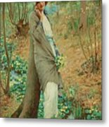 William Henry Margetson, Woman In A Spring Landscape. Metal Print