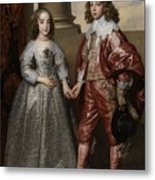 William II, Prince Of Orange, And His Bride, Mary Stuart Metal Print