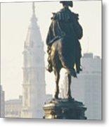 William Penn And George Washington - Philadelphia Metal Print by Bill Cannon