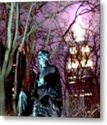 William Seward Statue And Empire State Bldg With Trees Metal Print
