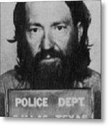 Willie Nelson Mug Shot Vertical Black And White Metal Print
