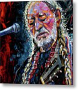 Willie Nelson Portrait Metal Print