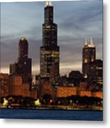 Willis Tower At Dusk Aka Sears Tower Metal Print