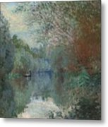 Willows At The Edge Of The Yerres Metal Print