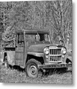 Willys Jeep Pickup Truck Monochrome Metal Print