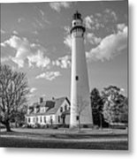 Wind Point Lighthouse And  Old Coast Guard Keepers Quarters  3 Metal Print