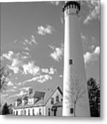 Wind Point Lighthouse And  Old Coast Guard Keepers Quarters.   Black And White Metal Print