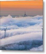 Wind Turbines At Sunrise Metal Print