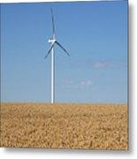 Wind Turbines On Wheat Field Summer Season Metal Print