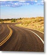 Winding Desert Road At Sunset Metal Print