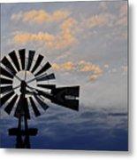 Windmill And Cloud Bank At Sunset Metal Print