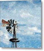 Windmill And Clouds Metal Print