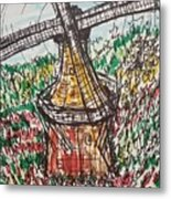 Windmill And Tulips  Metal Print