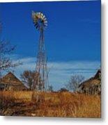 Windmill At An Old Farm In Kansas Metal Print