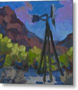 Windmill At Keys Ranch Joshua Tree Metal Print