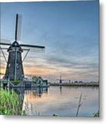 Windmill At Kinderdijk Metal Print