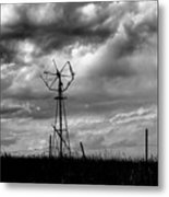 Windmill Foreground A Dramatic Sky Baw Metal Print