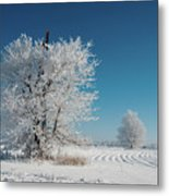 Windmill In The Frost Metal Print