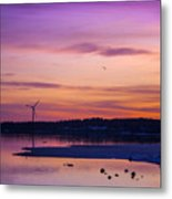 Windmill In The Sunset By The Sea Metal Print