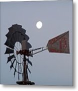 Windmill Moon Metal Print