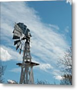 Windmill With White Wood Base Metal Print