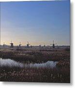 Windmills At Kinderdijk In Wintersun Metal Print