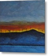 Burney Sunset With Windmills Metal Print