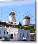 Windmills Mykonos Metal Print