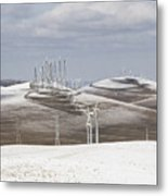 Windmils In Snow Metal Print