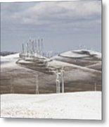 Windmils In Snow Metal Print