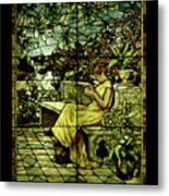 Window - Lady In Garden Metal Print