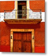 Window Above The Wooden Door Metal Print