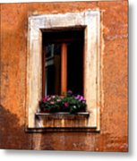 Window And Flowers Rome  Metal Print