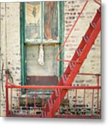 Window And Red Fire Escape Metal Print by Gary Heller
