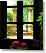 Window And Roses Metal Print