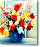 Window Bouquet Metal Print