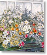 Window Box In The Sun Metal Print