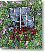 Window Flower Box Metal Print