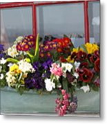 Window Flowers Metal Print