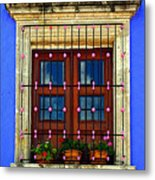 Window In Blue With Baubles Metal Print