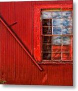 Window In Red Metal Print
