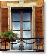 Window Shutters And Flowers I Metal Print