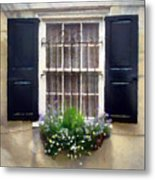 Window Shutters And Flowers II Metal Print
