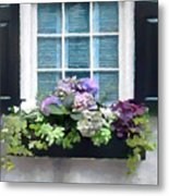 Window Shutters And Flowers Vi Metal Print